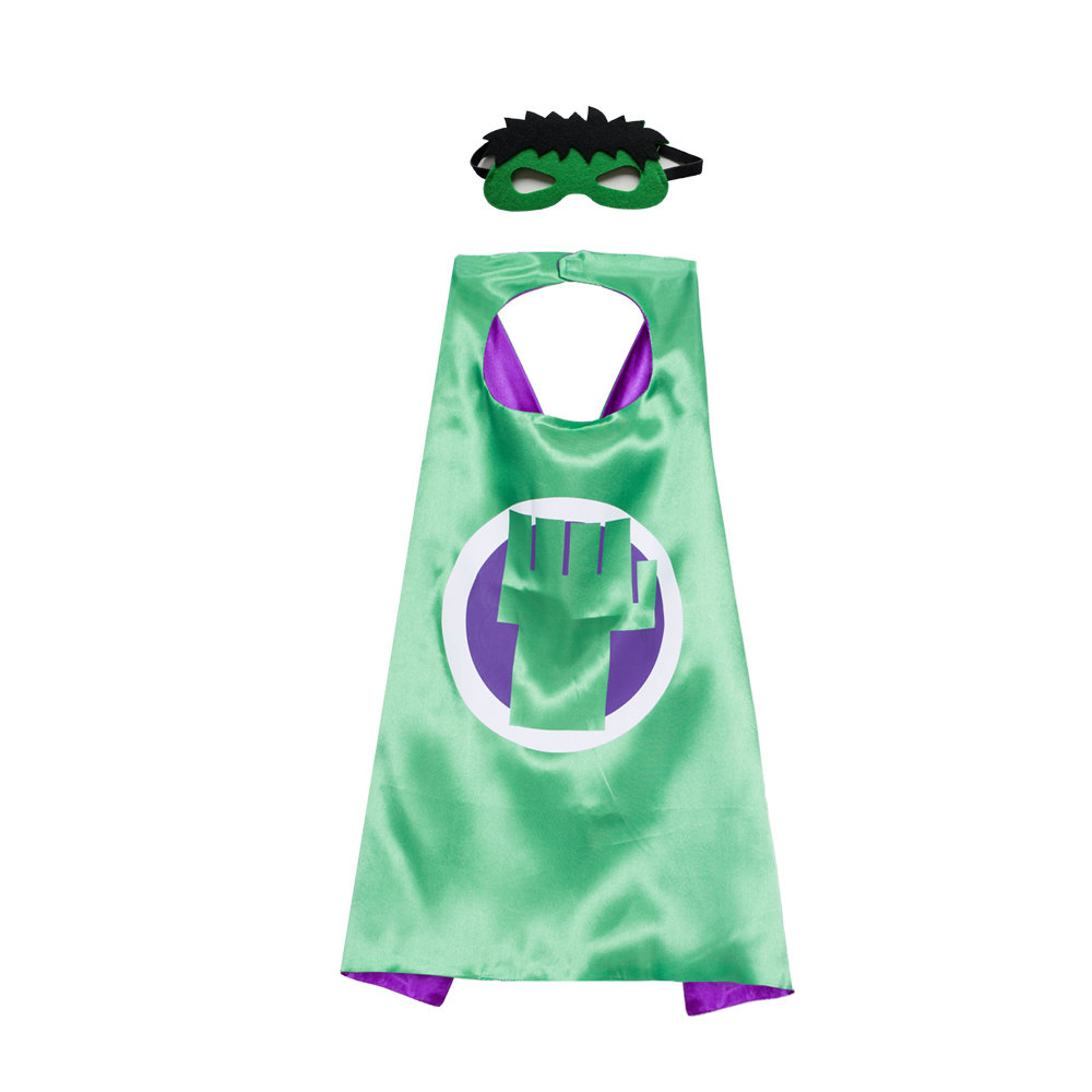 Superhero CAPE & MASK SET Kids Childrens Halloween Costume Hulk