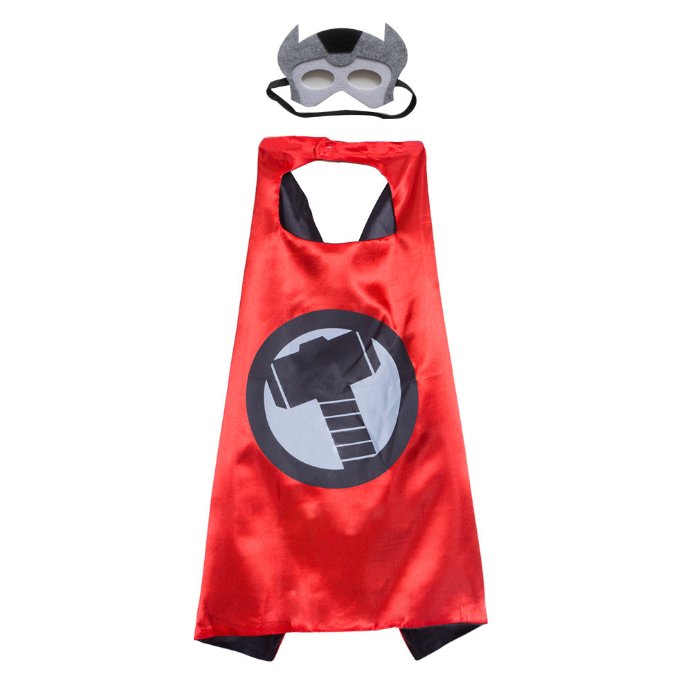 Kids Capes Red Thor Superhero and Mask Set