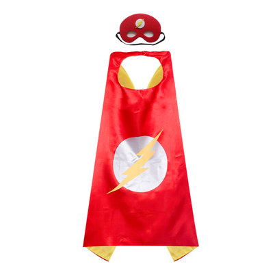 flash cosplay costume for childrens superhero cape and mask,double layer,Red