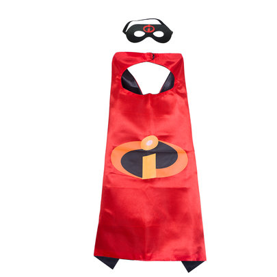Inside Out Superhero cape and mask for kids cosplay costume,double layer,Red