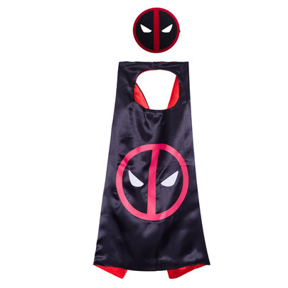 Children's Superhero Capes Mask Set,DeadPool Party Decoration Cosplay Costumes,double layer,black