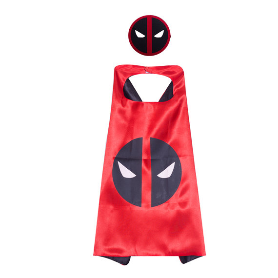 Marvel Comics Costume Deadpool Logo Cape and Mask For Children,double layer,Red