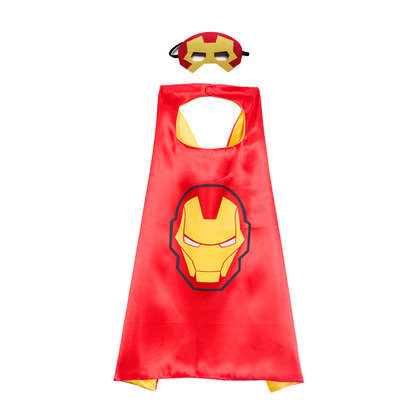 iron man costume for kids superhero cape and mask set,party favor,double layer,Red