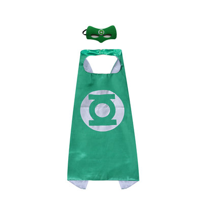 green lantern costume for kids superhero cape and felf mask,halloween cosplay,double layer,green