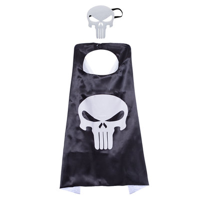 frank castle punisher costume for kids superhero cape and mask set,double layer,black