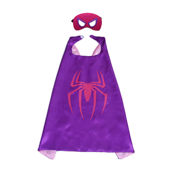 spider man superhero cape with felt mask for girl,double layer,purple