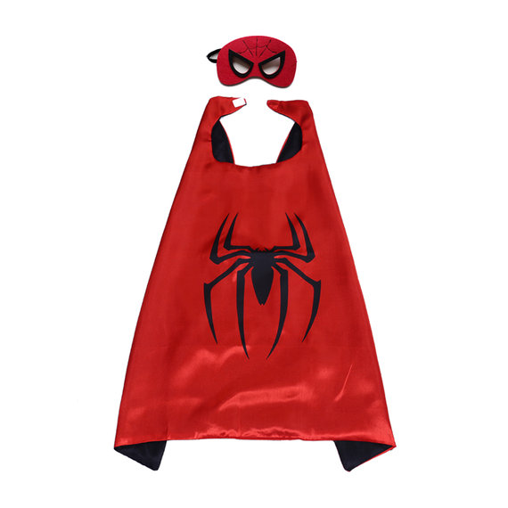 Red spiderman superhero cape and felt mask set for children,double layer