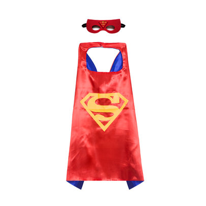 classic superman cape and felt mask set for childrens,double layer,Red