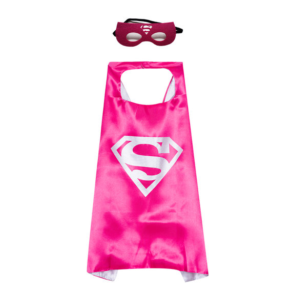 kids superman cape and felt mask set,double layer,Rose & Silver