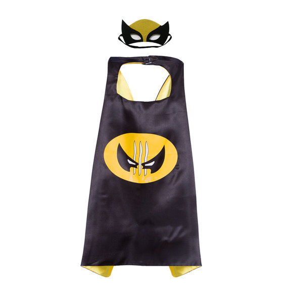 x man superhero cape and felt mask set for children,double layer,Black