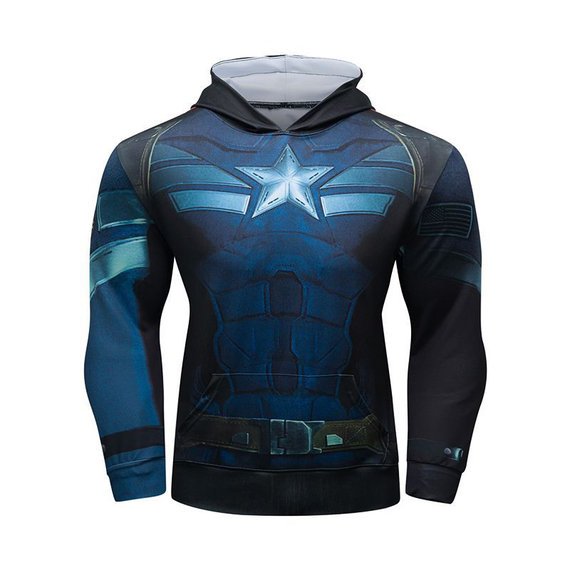 long sleeve Captain America sweatshirt hoodie cool graphic hooded shirt