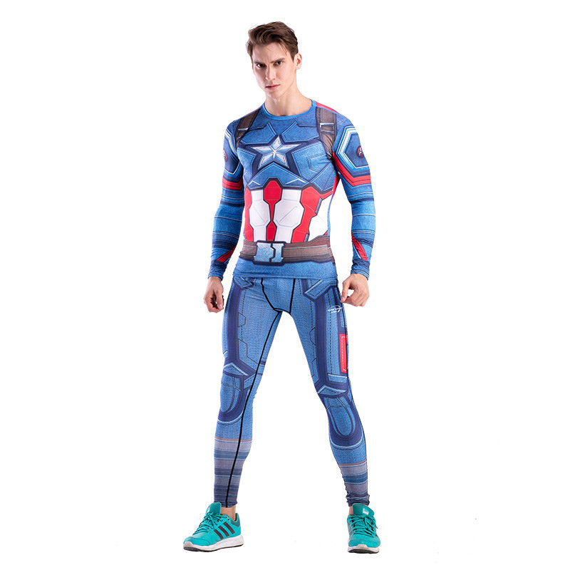 Dri-fit Captain America Compression Shirt Pant Suit For Running