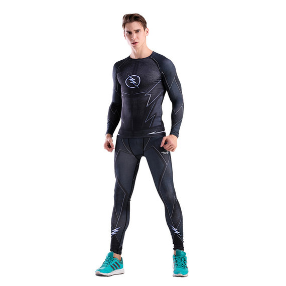 superhero black flash man compression shirt and pants suit for running gym sport