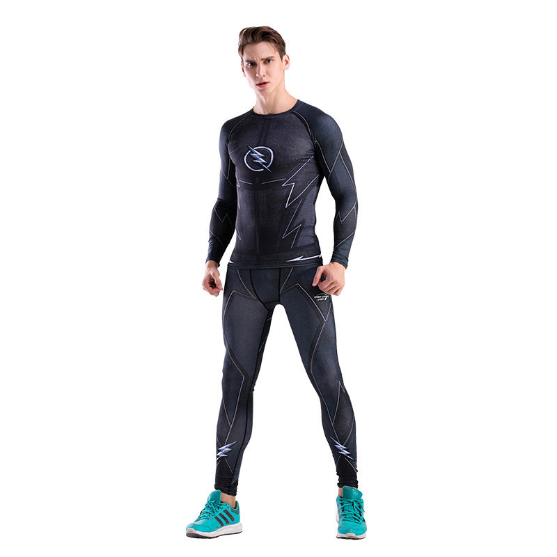 Dri-fit Black Flash Compression Shirt Pant Suit For Workouts
