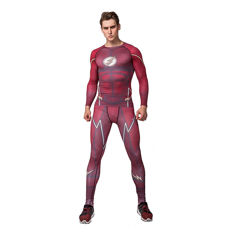 Dri-fit Red Flash Compression Shirt Pants Suit For Workouts