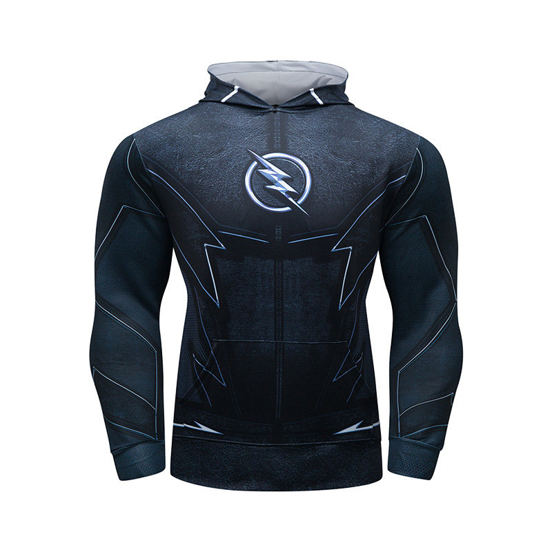 Black Flash Hooded T Shirt Casual Pull Over Hoodie