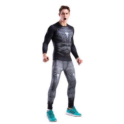 super hero black spider man running shirt and tight workouts pant for men