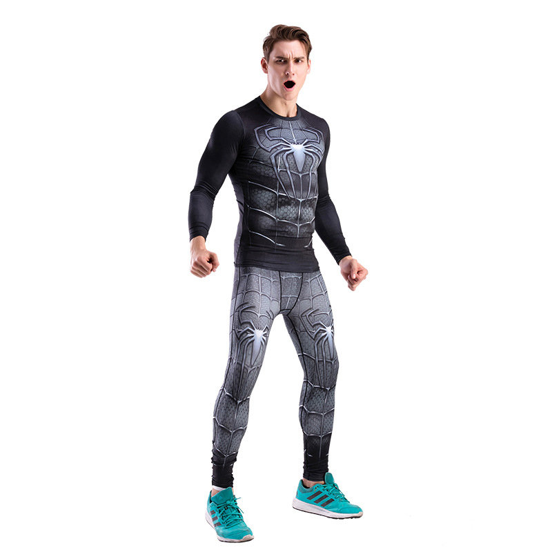 Dri-fit Black Spiderman Compression Running Shirt Workouts Pant