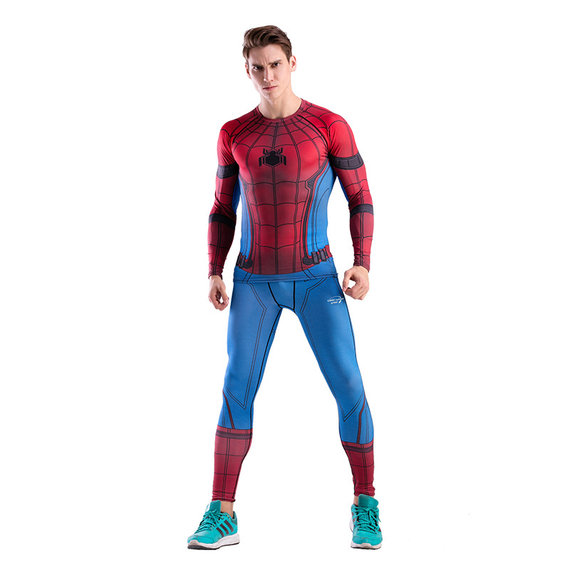 red spiderman running shirt and tight workouts pants suit for mens