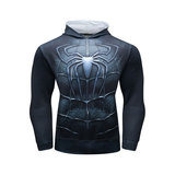 long sleeve spiderman hoodie costume hooded t shirt