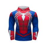 superhero spiderman hoodie marvel long sleeve pull over hooded t shirt