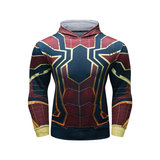 cool spiderman hoodie men pullover hooded t shirt long sleeve Red