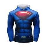 superman pullover hoodie long sleeve hooded t shirt blue