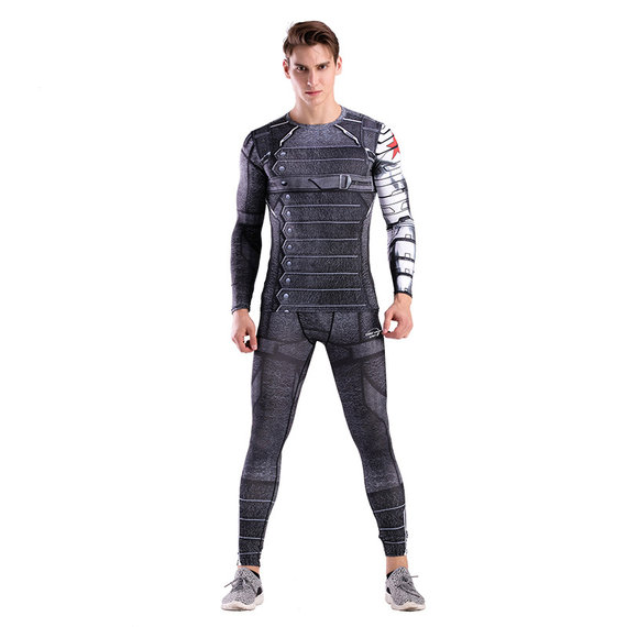 superhero winter soldier long sleeve compression shirt and tight yoga pants for mens