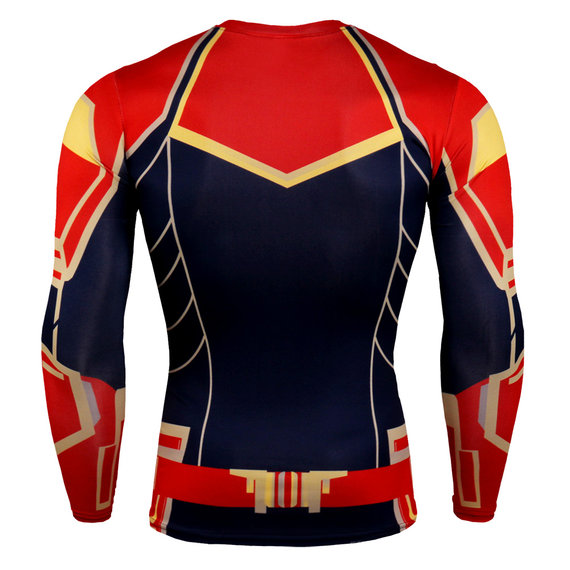 dri fit long sleeve superhero captain marvel compression workouts t shirt for mens red