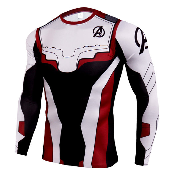 quantum realm shirt long sleeve compression workouts t shirt form mens white red blackadult superhero quantum realm shirt endgame 3d print t-shirt long sleeve White red black