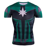 captain marvel compression shirt men short sleeve superhero workouts t shrit green