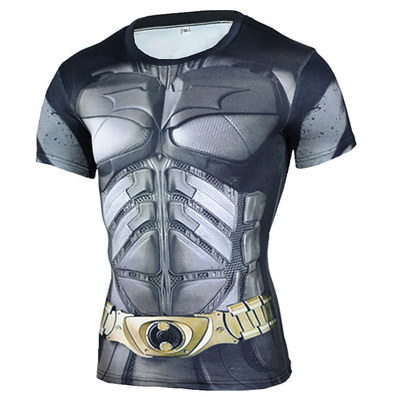 short sleeve superhero compression shirt boys bat man costume