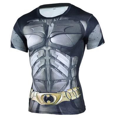 short sleeve superhero compression shirt boys bat man costume