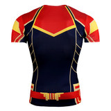 captain marvel costume shirt for lady short sleeve marvel tee