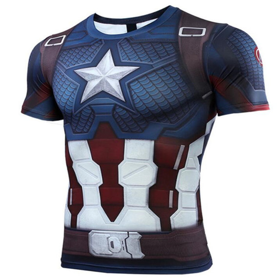 Avengers Endgame captain america dri fit shirt short sleeve compression workouts tee