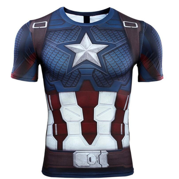 short sleeve captain america workout shirt dir fit graphic tee