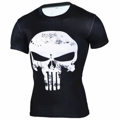 thin blue line punisher shirt short sleeve dri fit gym shirt