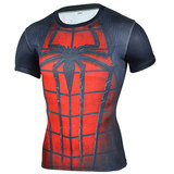 short sleeve superhero compression tee dri fit spider man red shirt