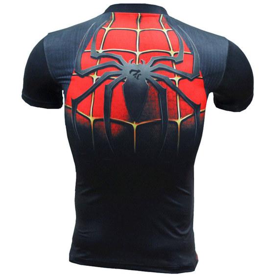 vintage spiderman shirt short sleeve superhero compression tee quick dry