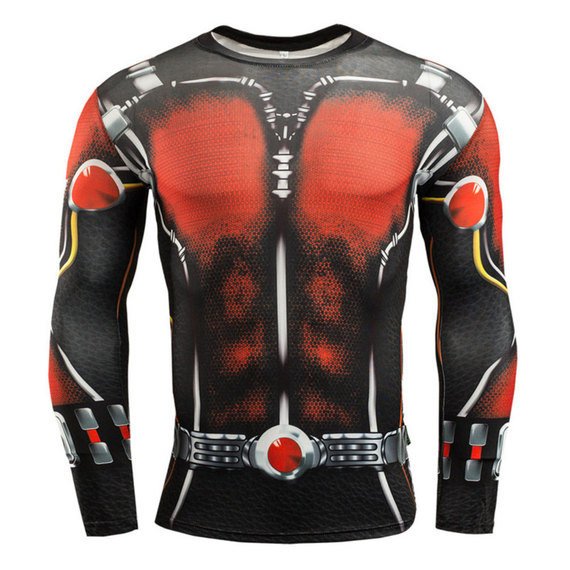 ant man tee long sleeve compression shirt red