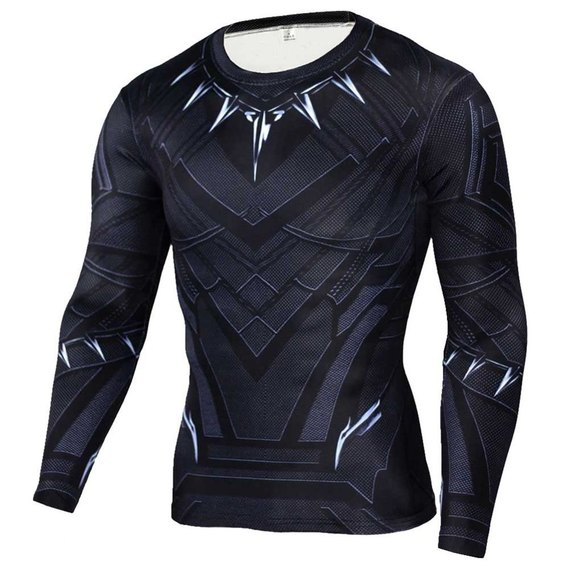 long sleeve super heros shirt black panther costumes for halloween