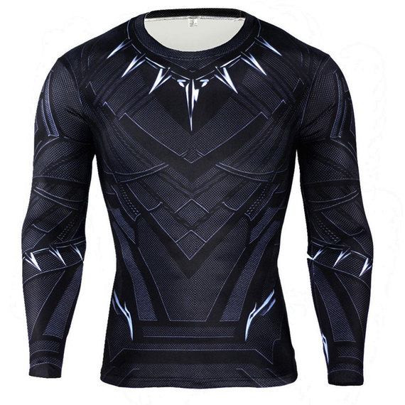 black panther gym shirt dri fit super hero compression top