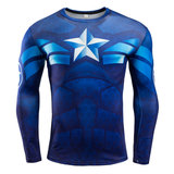 captain america workout t shirt long sleeve superhero compression top