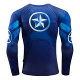 long sleeve captain america graphic tee cool running tee