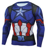 captain america t shirt women long sleeve superhero print tee