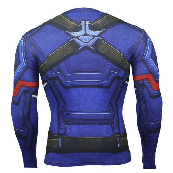 boys long sleeve captain america workout shirt dri fit