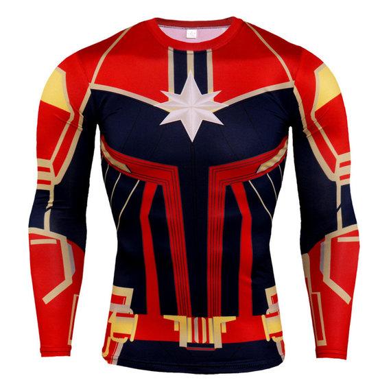 long sleeve superhero captain marvel compression shirt