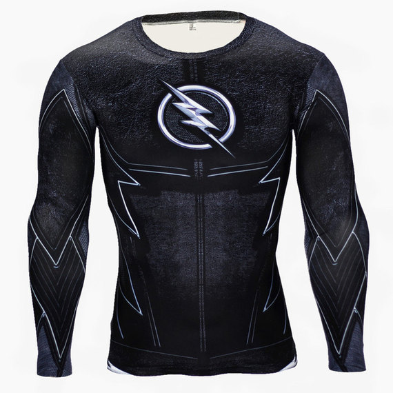 superhero dri fit flash compression shirt black