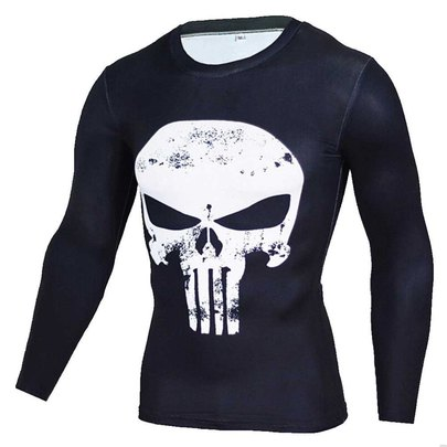 punisher marvel comics t shirt long sleeve dri fit compression tee