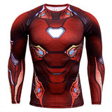 long sleeve men's compression t shirts iron man